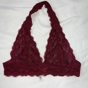 Free People Intimates & Sleepwear - free people - galloon lace halter bra (maroon)